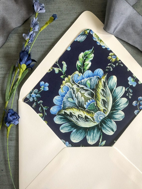 French and Navy Blue Chintz Envelope Liners