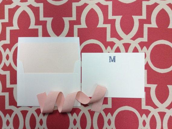 Flourished Block Personalized Stationery - flat card