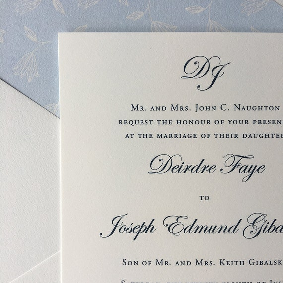 Monogrammed Simplicity thermography wedding invitation sample