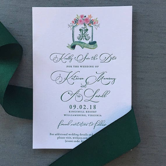 Watercolor Victorian Crest Letterpress Save the Date Cards