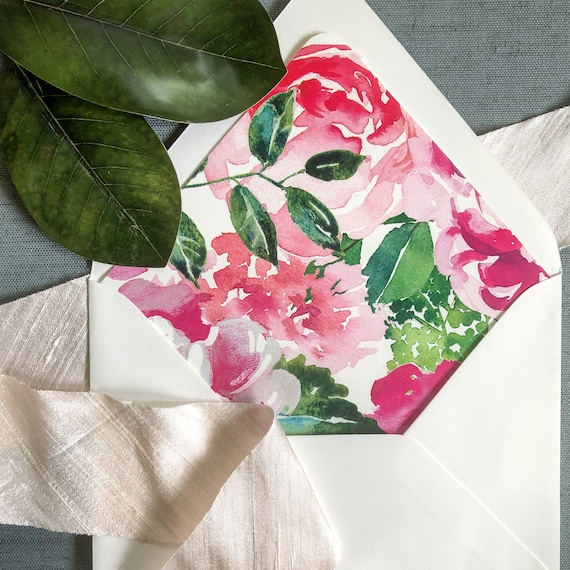 Preppy Pink and Green Floral Envelope Liners