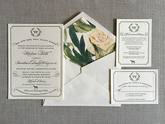 Equestrian Wreath letterpress wedding invitation