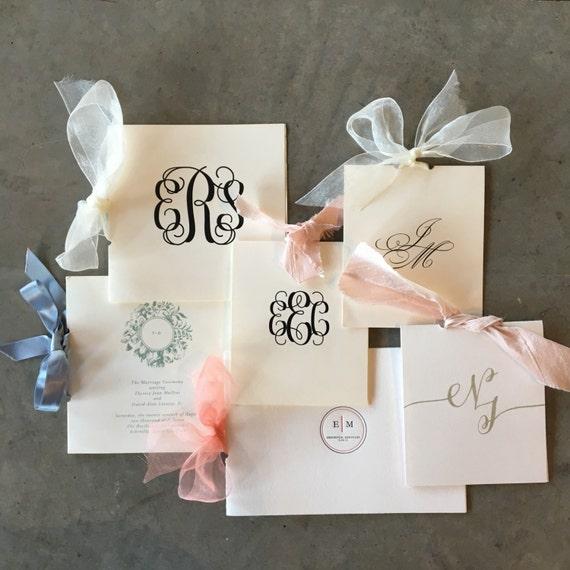 Custom petite top-opening booklet style wedding programs