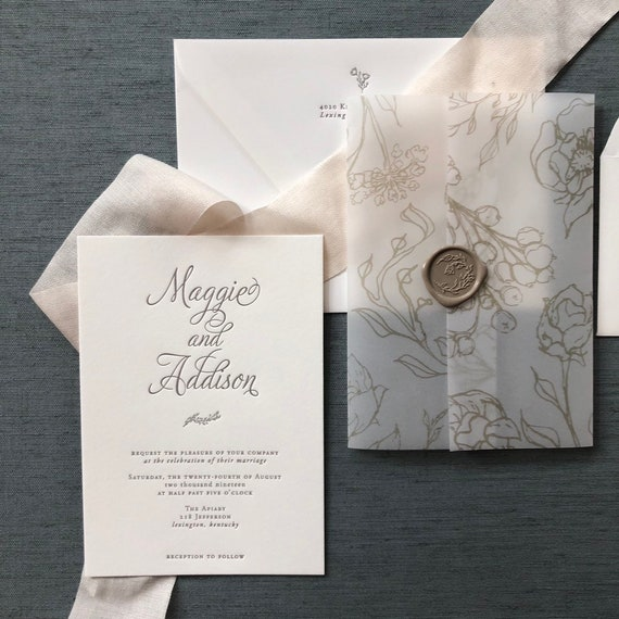 Sample Beautiful Branches letterpress wedding invitation