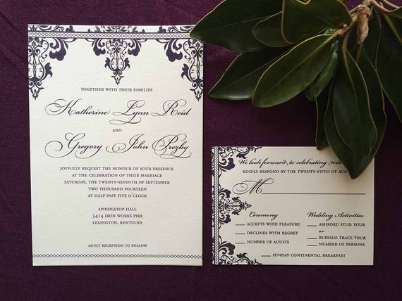 Regal Damask thermography wedding invitation sample