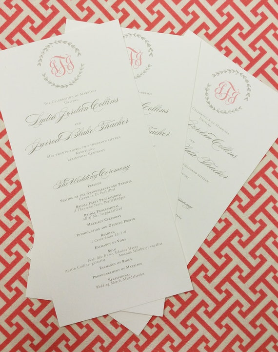 Drawn Laurel wedding program, wide tea length style