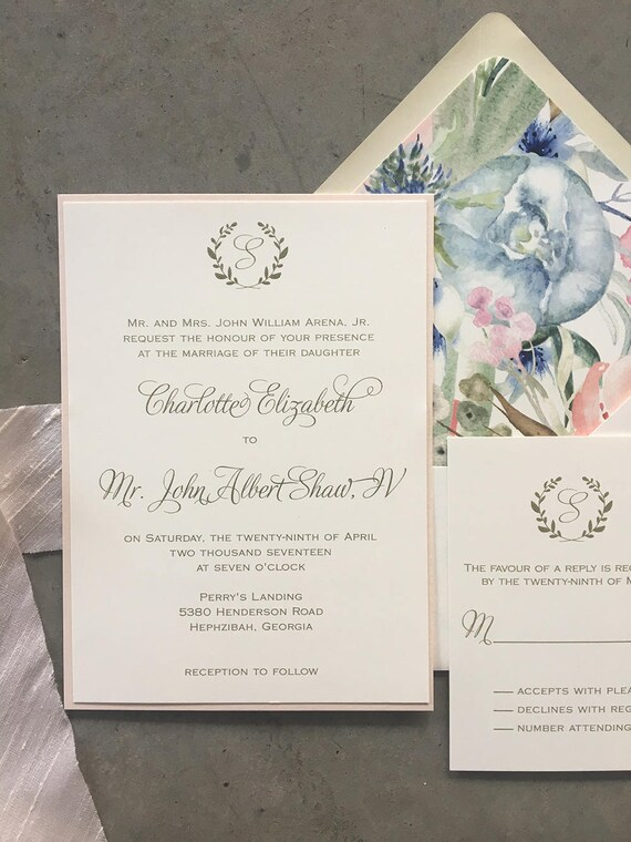 Laurel Initial thermography wedding invitation sample