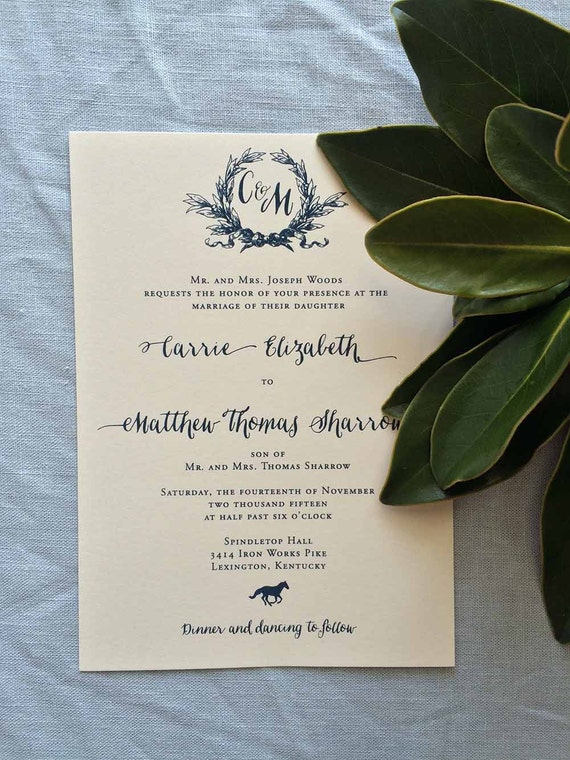 Southern Magnolia wedding invitation in navy ink