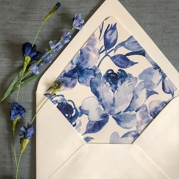 Cobalt Watercolor Floral Envelope Liners