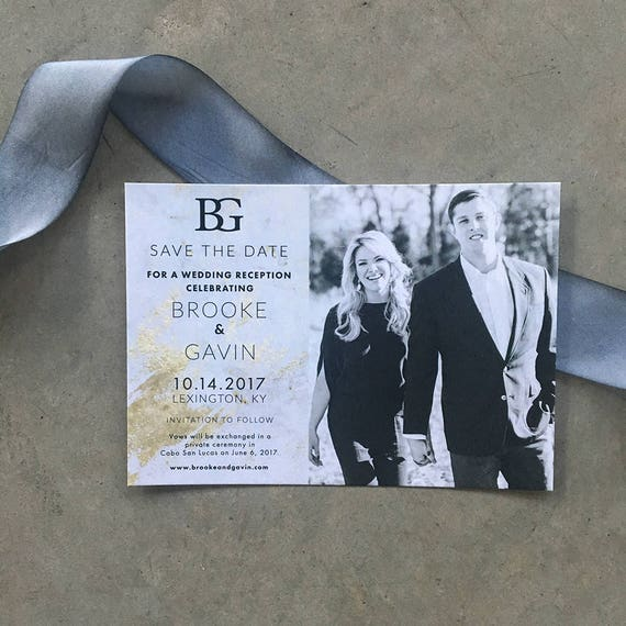 Marbled Beauty Save the Date Cards