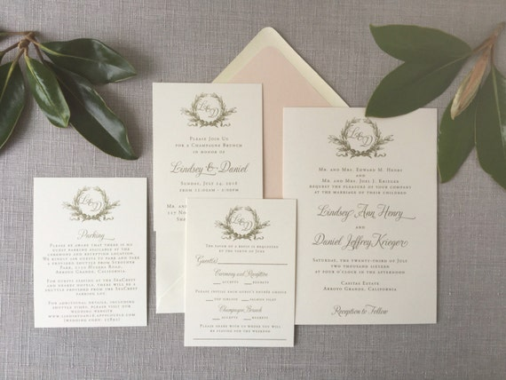 Southern Magnolia wedding invitation in gold ink