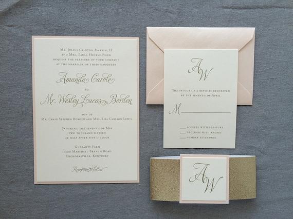 Elegant Calligraphy thermography wedding invitation sample