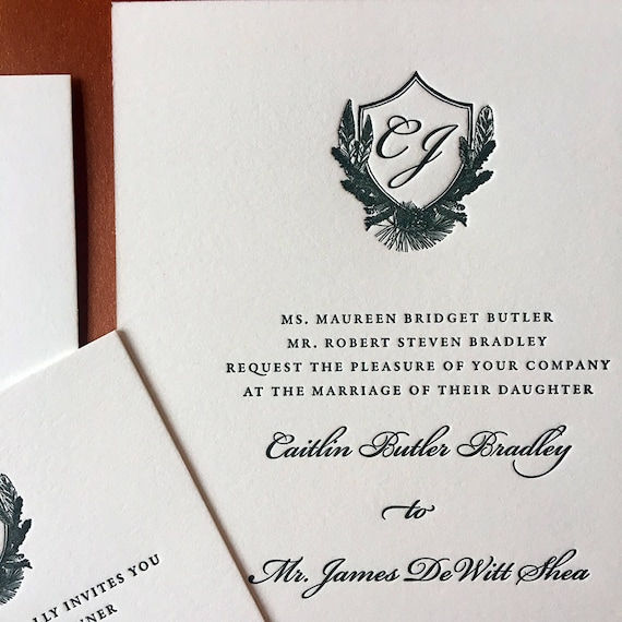 Boho Crest letterpress wedding invitations