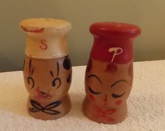 Vintage Campbell's Soup  wooden salt and Pepper set 2""