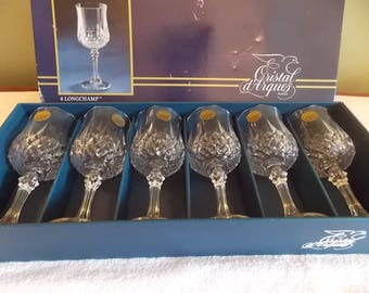 Cristold Aques France Vintage Lead Crystal 6 Long Champagne glasses NEW