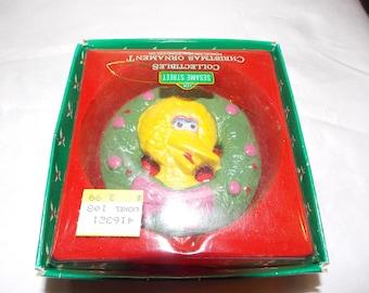 Vintage BIG BIRD ceramic wreath holiday ornament Muppets Sesame Street