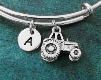 Tractor Bangle Tractor Bracelet Farmer Bracelet Farming Jewelry Farmer Gift Charm Bangle Stackable Bangle Adjustable Bangle Personalized