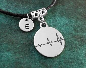Heartbeat Bracelet Heart Bracelet Love Jewelry Waxed Black Cord Bracelet Daughter Bracelet Personalized Initial Bracelet Girlfriend Bracelet