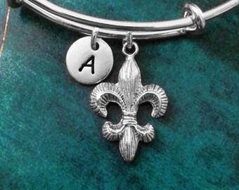 Fleur-De-Lis Bangle Fleur De Lis Bracelet Fleur De Lys Jewelry Silver Expandable Bangle Stackable Bangle Adjustable Bangle Personalized Gift