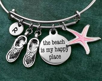 The Beach is my Happy Place Bracelet Beach Bracelet Flip Flops Bracelet Sandals Bracelet Pendant Bracelet Starfish Bracelet Charm Bracelet