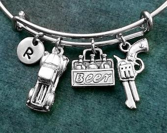 Truck Bangle Beer Bracelet Revolver Bangle Bracelet Gun Bracelet Expandable Bracelet Stackable Bangle Adjustable Bangle Personalized Bangle