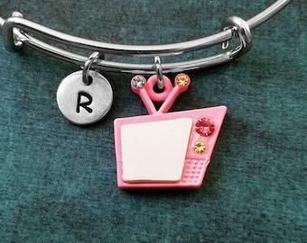 TV Bangle Pink TV Bracelet Retro TV Charm Bracelet Pink Television Expandable Bangle Stackable Bangle Adjustable Bangle Personalized Jewelry