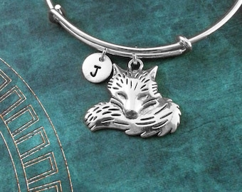 Fox Bangle Bracelet Silver Fox Bracelet Fox Jewelry Fox Charm Bracelet Adjustable Bangle Personalized Bangle Stackable Bangle Expandable