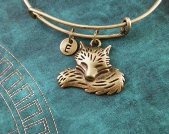 Fox Bangle Bracelet Bronze Fox Bracelet Fox Jewelry Fox Charm Bracelet Adjustable Bangle Personalized Bangle Stackable Bangle Expandable