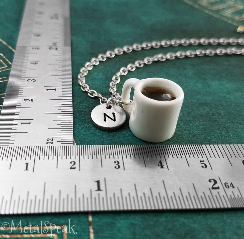 Coffee Bracelet Cup of Coffee Bangle Coffee Cup Bracelet Coffee Jewelry Coffee Mug Pendant Bracelet Personalized Initial Bracelet Gift