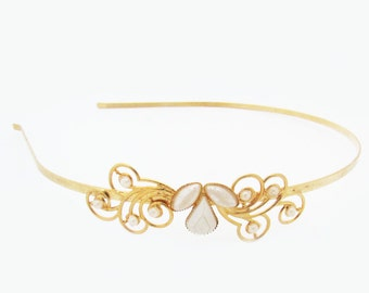 Gold Headband, Bridal Headband, Bridal Headpiece, Wedding Headpiece, Bridesmaid Headband, Wedding Headband, Gold Crown. Bridesmaid Headpiece