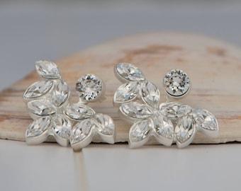 Silver Crystal Ear Jackets Earrings, Swarovski Ear Jackets Earrings, Silver Crystal Earrings, Bridal Ear Jackets, Bridal Earrings, Swarovski
