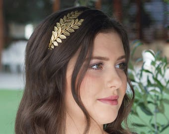 Greek Goddess Headpiece, Gold Laurel Leaf Headband, Grecian Crown, Bridal Headpiece, Bridesmaids Gift, Bridesmaids Headpiece, Prom Headpiece