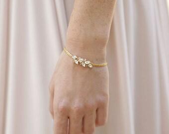 Gold Bridal Bracelet, Swarovski Crystal Bracelet, Bridal Wedding Bracelet, Bridesmaids Bracelet, Rhinestones Bracelet, Bridal Jewelry,