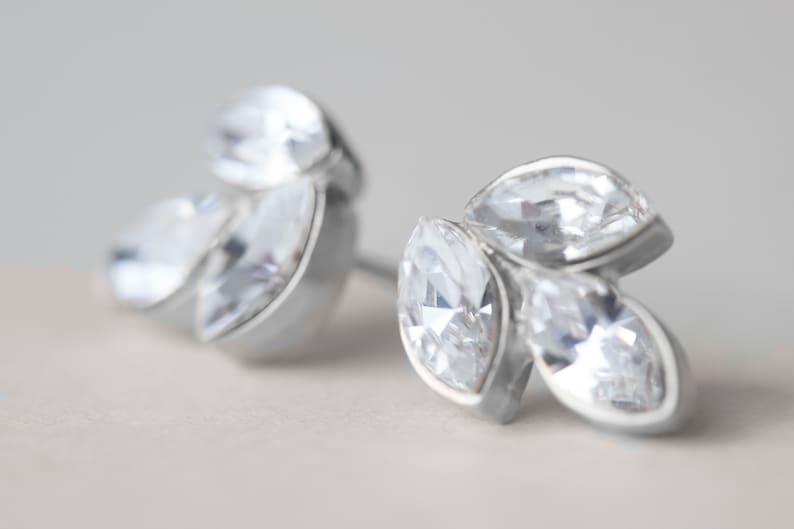 Bridesmaids Earrings Crystal Earrings Delicate Earrings Bridesmaids Studs Set Of 3 Earrings Wedding Earrings Bridesmaids Gift,
