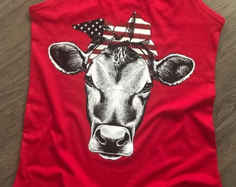 Patriotic bandana cow 4th of July/independence day