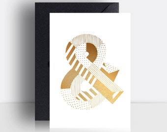 Gold Ampersand Foiled A6 print