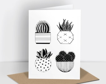Cactus greetings card (risograph printed)
