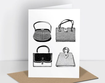 Vintage handbags greetings card (risograph printed)