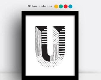 Letter U print - hand drawn typeface