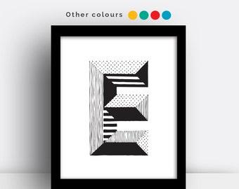 Letter E print - hand drawn typeface
