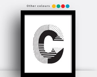 Letter C print - hand drawn typeface
