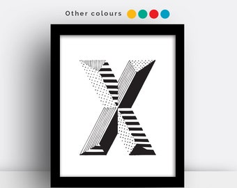 Letter X print - hand drawn typeface