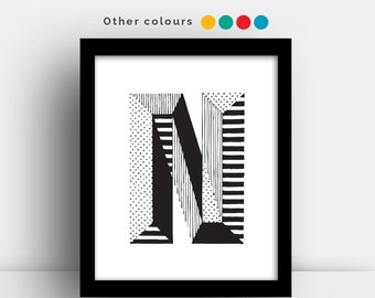 Letter N print - hand drawn typeface