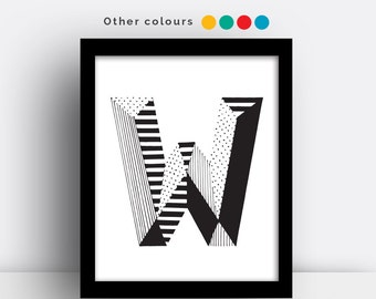 Letter W print - hand drawn typeface