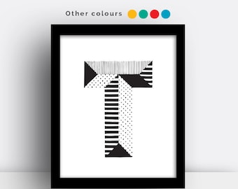 Letter T print - hand drawn typeface