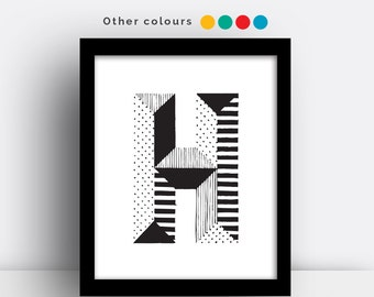 Letter H print - hand drawn typeface