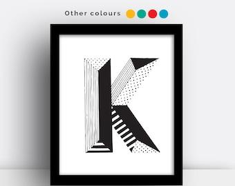Letter K print - hand drawn typeface