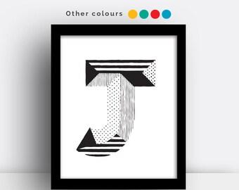 Letter J print - hand drawn typeface