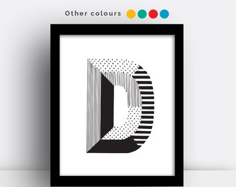 Letter D print - hand drawn typeface