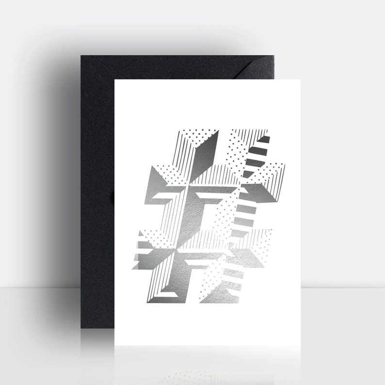 Silver or gold hastag foiled A6 print image 0